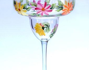 Summer Daisies Margarita Glass