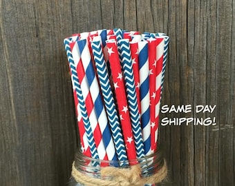 100 Red, White and Blue Striped, Chevron and Stars Paper Straws - Patriotic or Baseball Party Supply, Picnic Supply, Free Shipping!