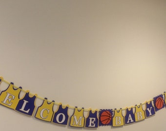 Basketball Banner - Baby Shower - Happy Birthday Banner -