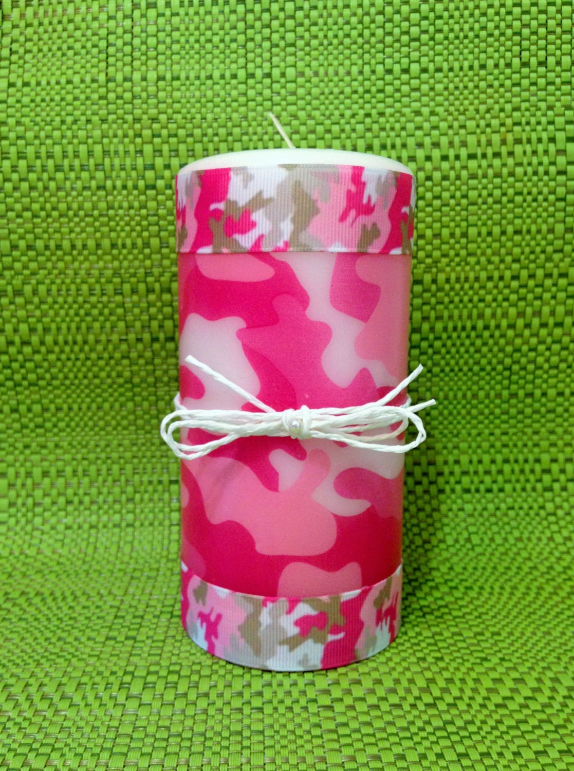 Pink camouflage pillar candle camo room decor handmade camo for Pink camo decorations