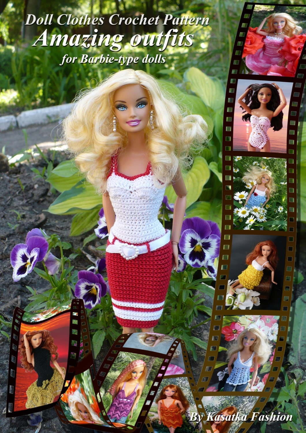 Pdf Doll Pattern Crochet 7 Outfits For Barbie Type Dolls By