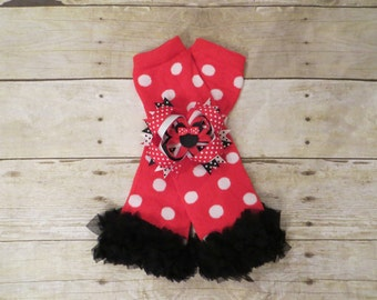 Minnie Mouse Inspired Red and White Polka Dot Ruffle Leg Warmers with Black Ruffles, Custom Minnie Mouse Boutique Bow