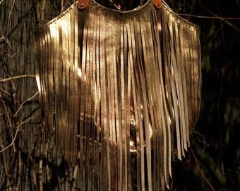 Lucila bag - Bronze - Leather bag with fringe - Bronze handbag with tan straps - Metallic fringe bag - Handmade leather bag