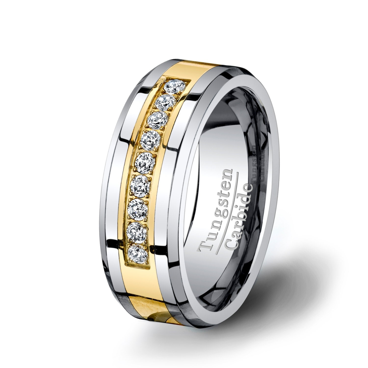 Mens Wedding Band Tungsten Ring 8mm Gold Inlay By TungstenOmega