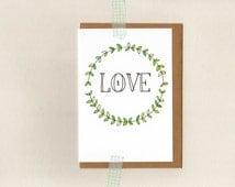 LOVE . greeting card . art . xmas christmas holiday wedding valentines wreath . australia wandarrah etsyau