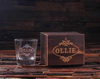 Personalized Whiskey Scotch Glass Set with Wood Box Gift for Men, Groomsmen, Father's and Dad (024971)