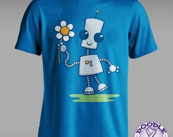 Ned's Flower - Cute Robot T-shirt