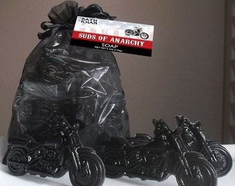 Suds of Anarchy - Motorcycle Soap - Stocking Stuffer - Gift for Dad Men Sons - Fathers Day Soap, Holiday Soap - 10 Piece Soap Gift
