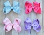 Solid color hair bows, Hair bow set, you pick hair bows