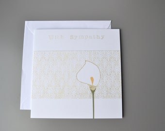 With Sympathy Card - Condolence Card - Sorrow Card - Bereavement Card -  Sorry Card- Lily sympathy Card - sorry to hear