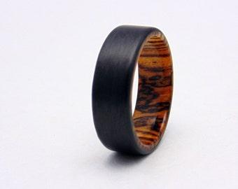 bocote wood and carbon fiber ring carbon fiber wedding band wood ring - Carbon Fiber Wedding Rings