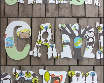 Lolli Living Animal Tree - Hand Painted Letters - Custom Name Letters - Custom Wood Letters - Name Letters - Painted Letters - Wood Letters