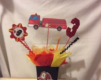 Fire Truck Birthday Party Theme Centerpiece