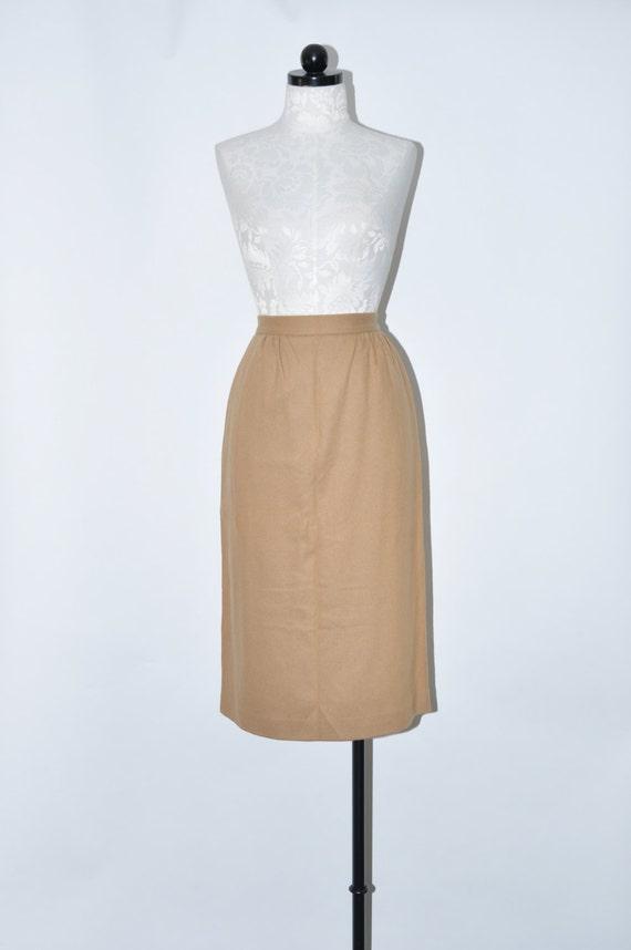 80s camel pencil skirt 1980s beige wool skirt vintage