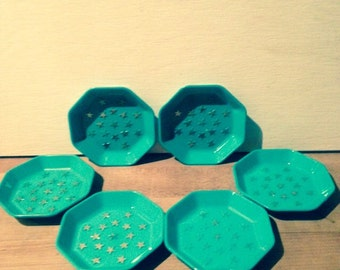 set of 6 aqua blue plastic nut dishes
