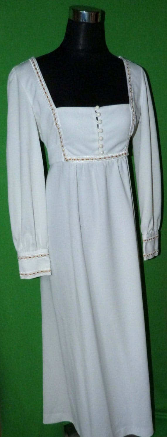 White edwardian style 1970s wedding dress with by for 1970 s style wedding dresses