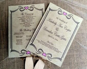 DIY Rustic Wedding Program Fan -Printable Vintage Wedding, Cottage Chic, Downloadable