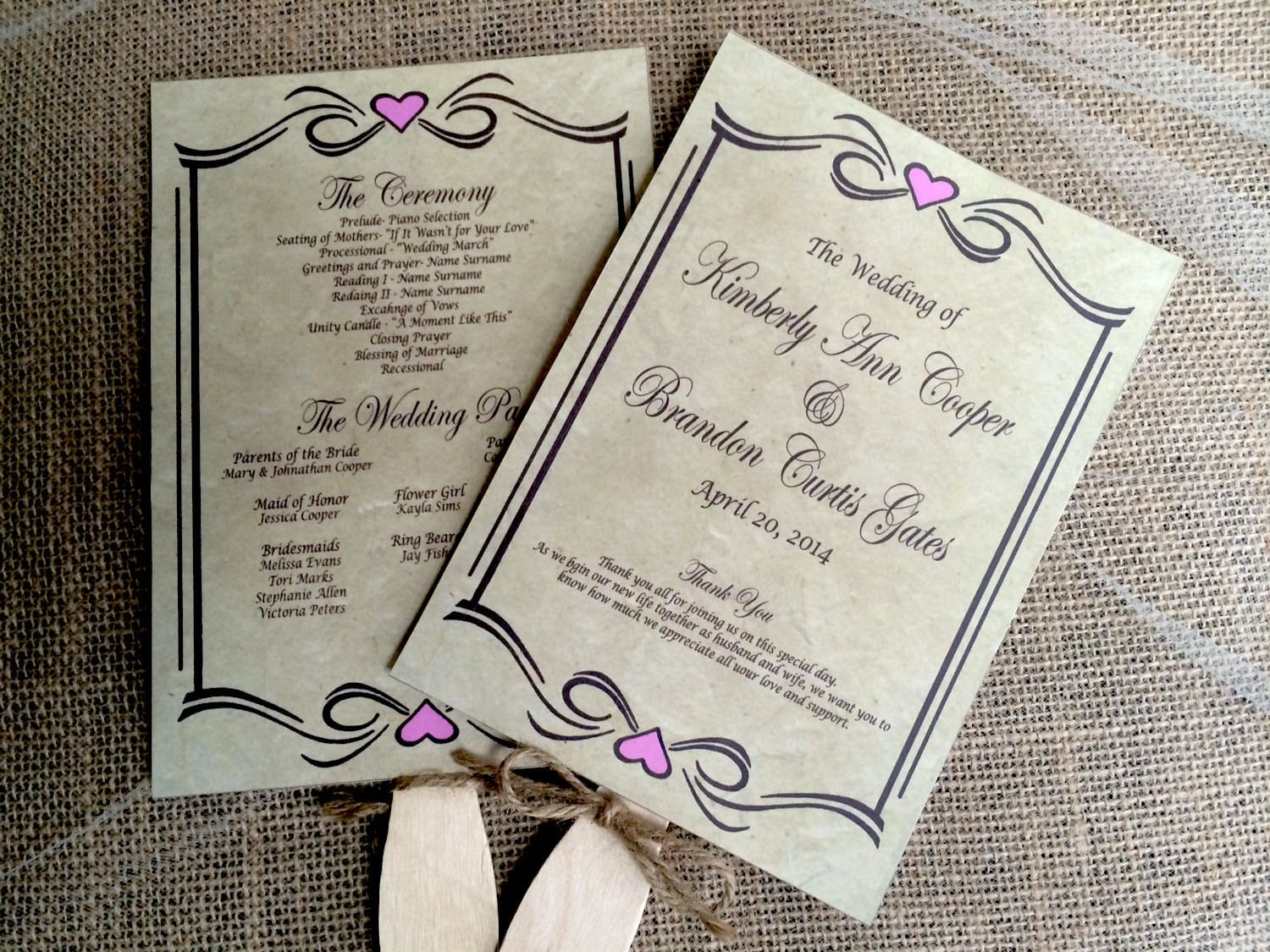 diy rustic wedding program fan printable vintage wedding