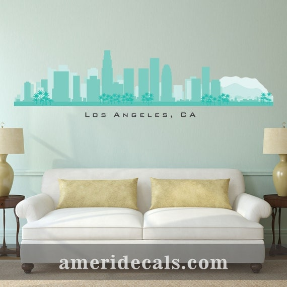Los angeles california skyline wall decal art vinyl removable for Real estate office wall decor