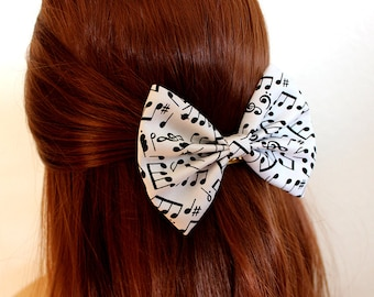 "4.5"" Music notes hair bow, black and white hair bow, music hair bow, music hairbow, hair bow for girls, hair bows for music lovers"