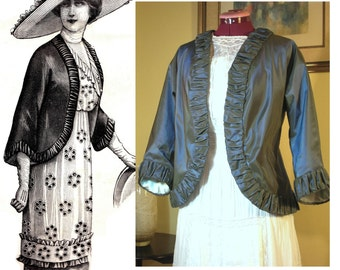 Digital Antique Sewing Pattern Multi-Size ~ Striking 1912 Edwardian Taffeta Jacket - in PDF format to Print at Home - Szs Sm to Lrg included