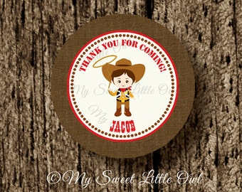 boy cowboy cupcake topper - cowboy printable - cowboy sticker - cowboy party - brown cowboy birthday - boy cowboy label - cowboy tag