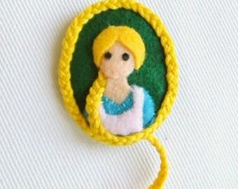 Rapunzel Embroidered Felt Brooch