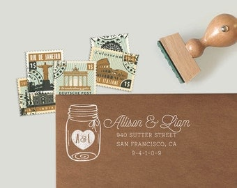 Custom Address Stamp with a mason jar and a heart