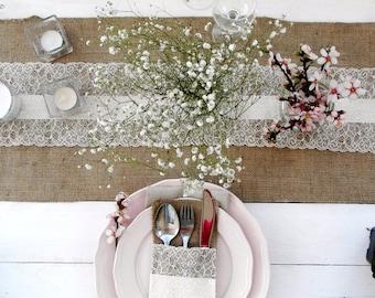 Burlap Lace Runner 14'' - Rustic wedding runner - wedding table runner - choose your length