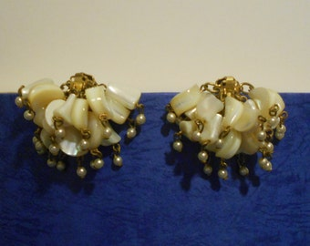 CLEARANCE Vintage Clip On Pearly Beaded Earrings