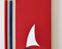 "Papercut notepad ""ship"" eco minimal notebook easter geometric journal sea lover gift red +cobalt blue +white cardboard embroidered waves"