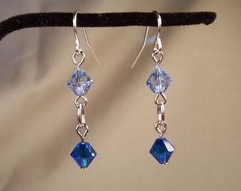 Blue Earrings, Crystal Earrings, Swarovski Crystal Bicone Earrings, Light Blue Clear Crystal Earrings, Crystal Earrings, Swarovski Earrings
