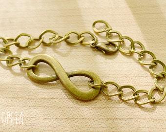 Infinity Bracelet, Eternity Bracelet, Chain Bracelet, Infinity Chain Bracelet, Charm bracelet, Gold Infinity Bracelet,