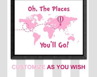 travel girls room decor, world map playroom decor, dr seuss oh the places you will go girl decor, hot air balloon girl nursery, motivational