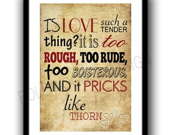 Romeo and Juliet Poster,A3 quote poster, valentines day,minimalist, Shakespeare, wall decor, typography, Modern, Classic
