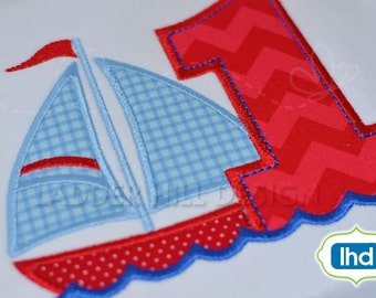 Sailboat First Birthday Applique -- Sailboat Applique with Large Number One Applique BI021