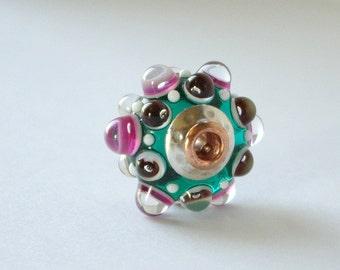 Big Hole Fully Lined, Slider Charm, Lampwork Big Hole European Charm Style Handmade Glass Art Bead Lampwork SRA