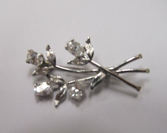 Sterling Silver Prong Set Rhinestone Floral Pin Item W-#499
