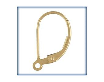 14KT Gold Filled Leverbacks, Lever back Findings, 2 Pairs, Gold Earring Findings, Leverback hooks, Earring Hooks, Wholesale Findings