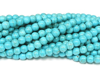 8mm round Beads, Turquoise Magnesite Beads, Howlite round beads, 1 strand, Turquoise beads for Jewelry Design, Wholesale Beads