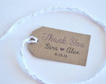 Thank You Kraft Brown Small Label Tags - Custom Wedding Favor & Gift Tags - Thank You Brannboll