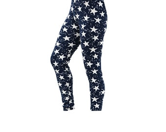 Women Custom Patterned Print Tights/Leggings-Blue/Star