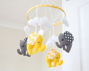 Yellow Grey Elephant Mobile - Nursery mobile - Baby Mobile - Chevron dots -  MADE TO ORDER