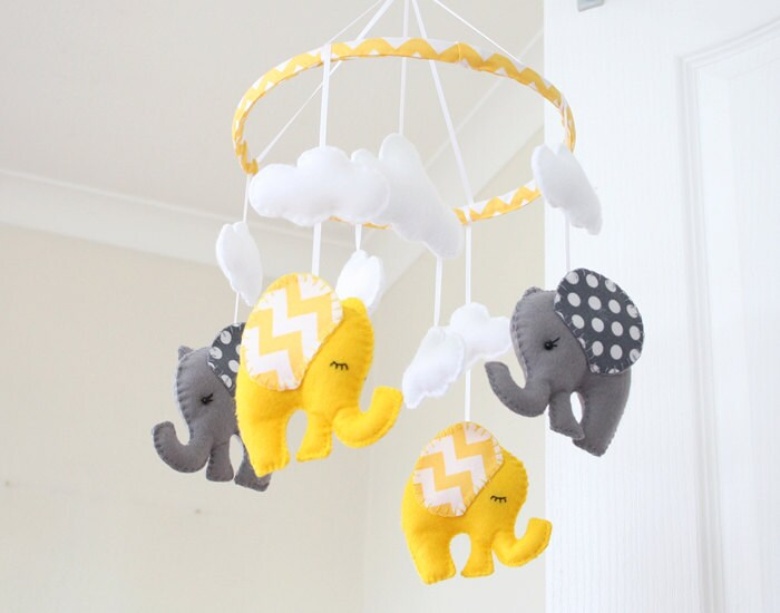 yellow grey elephant mobile nursery mobile baby mobile. Black Bedroom Furniture Sets. Home Design Ideas