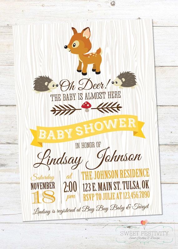 woodland animals baby shower invitation by sweetfestivity on etsy