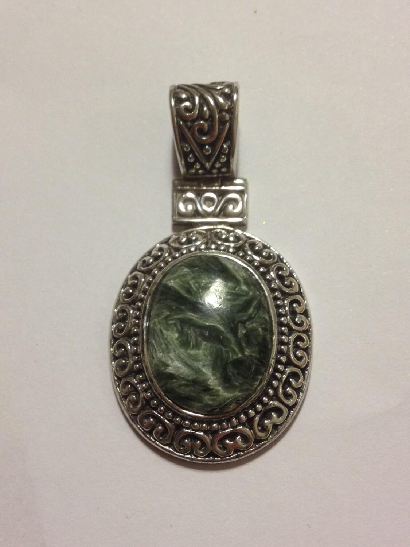 Green Serpentine Sterling Pendant 925 Silver by BargainBitz  Green Serpentin...