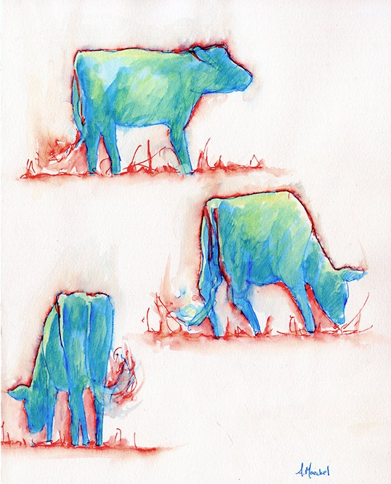Flame Cows, Watercolor Painting