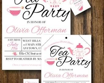Printable DIY Bridal Shower Tea Bag and Tag Invitation