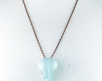 UNIQUE paintedliberty blue jackdaw bird Skull Taxidermy with copper plated chain necklace