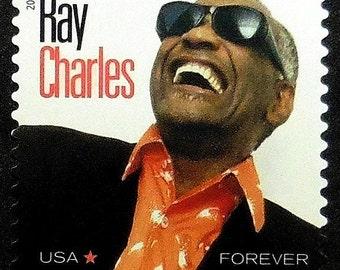 Ray Charles Musician USA Music -Handmade Framed Postage Stamp Art 19231